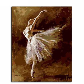 Dancing Girl DIY Canvas Oil Painting By Numbers Kit - DIY Art Home Decor - No Frame 16X20 Inch