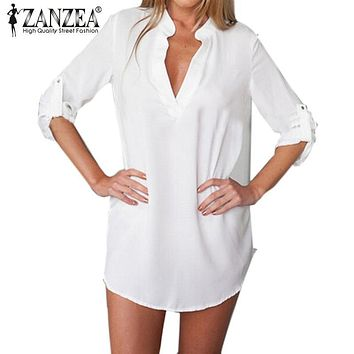 Sexy Women Dress 2017 Zanzea Fashion Casual V Neck Long Sleeve Solid White Black Blue Shirt Dress Plus Size Vestidos Long Blusas