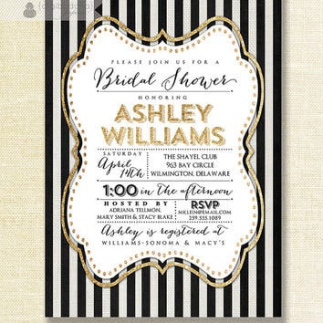 Gold Black & White Bridal Shower Invitation Gold Glitter Sparkly Striped Linen Shabby Chic Invite Printable Digital or Printed- Ashley Style
