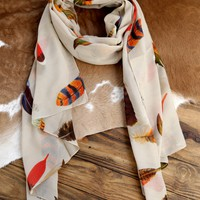 Falling Feather Scarf, Taupe
