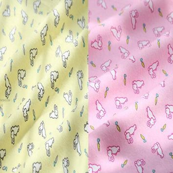 50x110cm Cartoon White Rabbit & Radish 100% Cotton Flannel Fabric for Children Sleepwear Baby Blanket, Pajamas, Brushed Cloth
