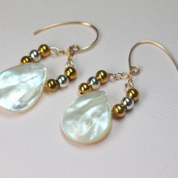 Gold Pearl Earrings, MOP Drop Earrings, Silver and Gold Earrings, Pearl Jewelry, Natural White, Pearl Teardrops