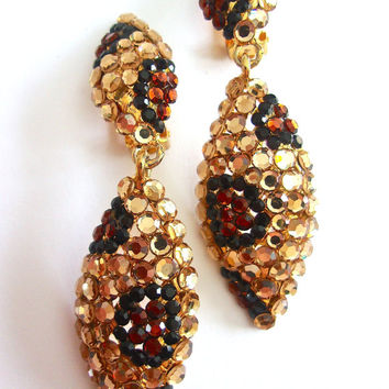 Pave' Animal Print Rhinestone Earrings, Rootbeer Topaz  Gold, Dangle, Vintage