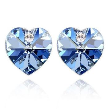 Free Shipping!!! Women's Heart Style White Gold Color & Baby Blue Crystal Stud Earrings Made With Swarovski Elements (462)