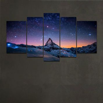 Dream Star Universe 1set of 5pcs Canvas Painting Modern Abstract Wall Art Decor Oil Picture on Canvas for Home Living Room Stick