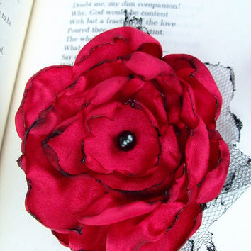Red Flower Hair Clip by OurPlaceToNest on Etsy