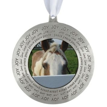 Peek a Boo Palomino Horse Behind Fence Pewter Ornament