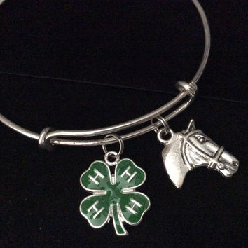 Horse Head with Green Resin 4H Charm on a Silver Expandable Bracelet Adjustable Wire Bangle Meaningful Trendy Handmade Stacking Animal Lover Gift Competition