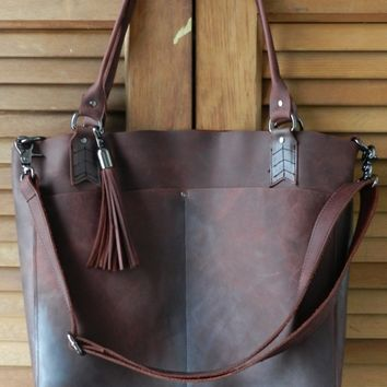 Oil tanned distressed metallic leather tote bag
