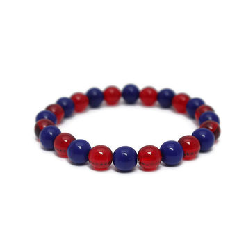 Red and Blue Team Bracelet - Football Mom Beaded Jewelry - Cheerleader Bracelet - Handmade Sports Jewelry - Texans, Patriots or Your Team