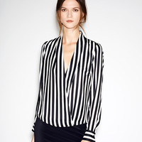 Striped Deep V-neck Long Sleeves Slim Chiffon Blouse