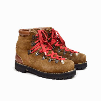 Vintage Leather Hiking Boots / Waffle Stompers with Red Laces