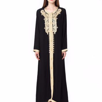 Women Maxi Long sleeve long Dress embroidery moroccan Kaftan Caftan Jilbab Islamic abaya Muslim Turkish arabic Robes gown 1629