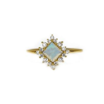 Rainbow Moonstone & Diamond Snow White Ring