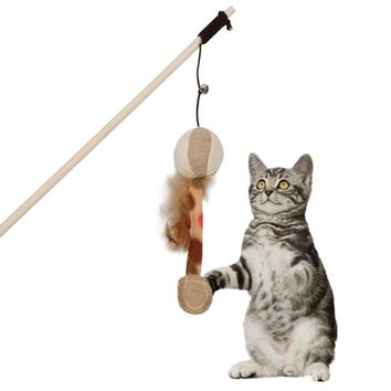 Pet Cat Interactive Catcher Toy Wooden Pole With Bells Elastic Rod Funny Cat Pumpkin Shape With Feather Cat Supplies