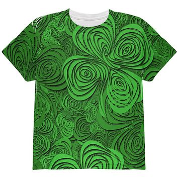 St Patricks Day Trippy Irish Clover Field All Over Youth T Shirt