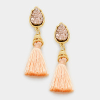 Peach Druzy Tassel Earrings