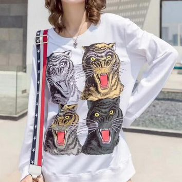 One-nice™ Gucci Tiger Head Fashion Loose Long Sleeve Knit Sweater Top White