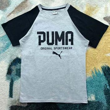 DCCKR2 PUMA men and women couples casual retro college style color matching short sleeves F-XMCP-YC grey