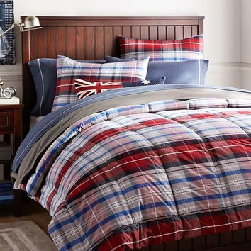Portsmith Plaid Comforter + Sham, Red
