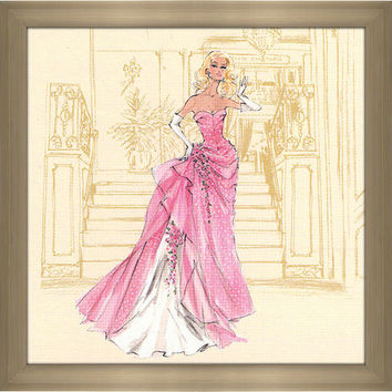 Robert Best 'Pink Gown with White Polka Dots Barbie' Framed Plexiglass Fashion Wall Decor | Overstock.com Shopping - The Best Deals on Acrylic Wall Art