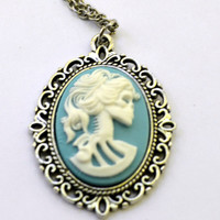 Lolita Cameo Necklace - Skull Necklace - Skeleton - Lolita Necklace - Blue and White