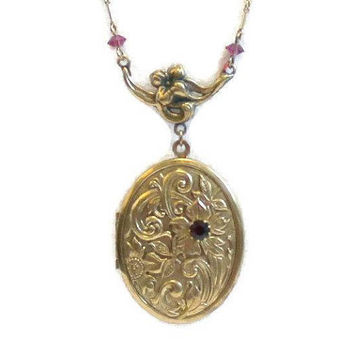 Pididdly Links Locket Necklace, Brass With Amethyst Rhinestone
