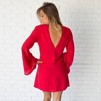A Little Flare Red Shift Dress