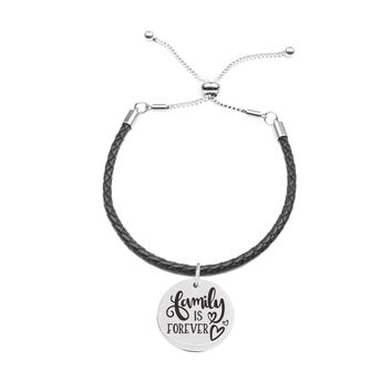 Genuine Leather Cord Inspirational Slider Bracelet  - FAMILY IS FOREVER