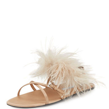 Prada Feather-Embellished Crisscross Flat Sandal, Neutral