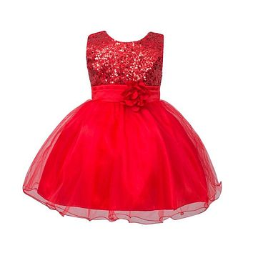Infant Baby Girls Mesh Formal Sleeveless Bling Sashes Flower Party Princess Dress RZ