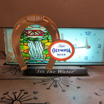 Olympia Waterfall Transparency Cash Register Sign with Clock 9073 Light Olympia Beer Waterfall Clock Oly Beer Sign Light Up Clock
