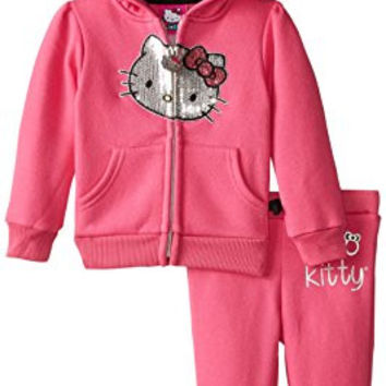 Hello Kitty Baby Girls' Silver Sequin Face Fleece Hoodie Set, Passion Fruit, 18 Months