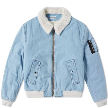 Vegan Shearling Collar Denim Jacket by Gosha Rubchinskiy