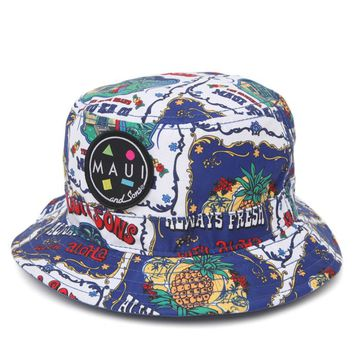 Maui & Sons Aloha Blue Bucket Hat - Mens Backpack - White - One