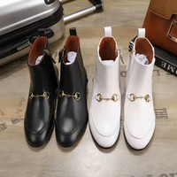 GUCCI Trending Women Fashion Black white Leather Heels Shoes Boots Winter Autumn