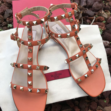 NIB Valentino Rockstud Sandals 37 7 Orange Ankle Strap Cage $945