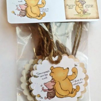 Classic Winnie The Pooh Gift Tags, Party Favor Tags,Thank You Tags, Birthday Party Decoration, Party Bag Tags, Baby Shower Favor Tags, Pooh Tags