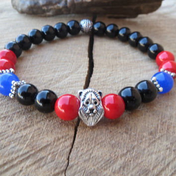 Men's Bracelet, Men Bracelet, Lion Bracelet, Beaded Stretch Gemstones Bracelet, Black Onyx Red Coral Lion Men Power Bracelet, Cool Men