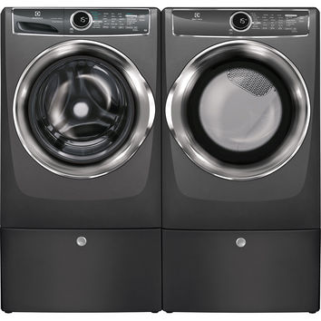 Electrolux Titanium Front Load Washer/Dryer Pair w/ Pedestals-