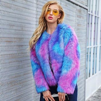 Gorgeous Rainbowlicious Faux Fur in sizes S-3XL