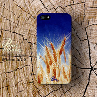 Wheat on blue, Unique Decoupage case, iPhone 5/5S, iPhone 4/4S, iPhone 3Gs, Samsung galaxy S4.