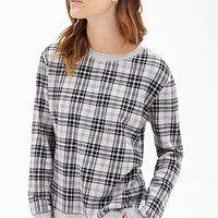 FOREVER 21 Tartan Plaid Heathered Sweatshirt Heather Grey/Black