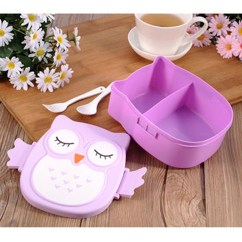 1pc Cartoon Owl Lunch Boxs Food Storage Container