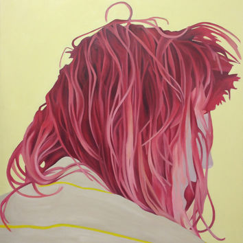 Matted Print of ORIGINAL OIL PAINTING Portrait of Ariel Pink Hair 4x6