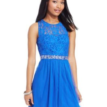 Speechless Juniors' Lace Illusion Dress | macys.com