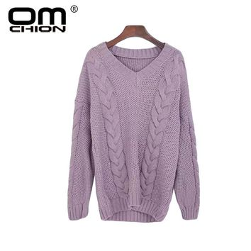 Autumn Knitted Sweater V Neck Long Sleeve Sexy Pullover Women Loose Thick Korean Twist Sweaters