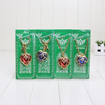 4pcs/lot The Legend of Zelda figure Skyward Sword Heart Container Necklace keychain keyring Cosplay Pendant Red Blue
