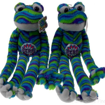 Lot 2 Peace and Love Frogs Perf Perfect Soft Plush Hanging Embroidered