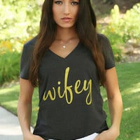 Wifey Tee - Heather Gray & Gold